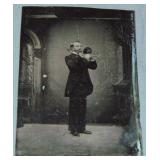 Tintype of a Man Playing the Horn