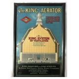 Farm Sign, The King Aerator, Self Framed Tin Litho