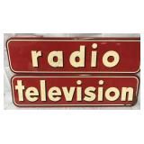Radio / Television Metal Advertising Sign