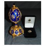 Faberge Franklin Mint Jeweled Egg in Original Box.