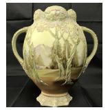 Nippon Moriage White Woodland Vase.