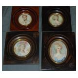 Signed Hand Painted Miniature Portraits. Lot of 4.