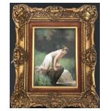 Artist Signed Porcelain Plaque, Woman at Water