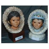 Cybis. Porcelain Eskimo Busts. Lot of 2