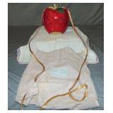 Red Apple Crystal Designer Handbag.