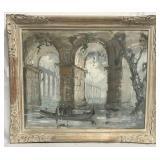 """Louis Agricol Montagne, """"Venice"""" Watercolor"""