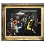 """Jarvis Boone, Oil on Canvas Board """"Jazz Musicians"""""""