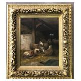 Oil on Canvas Painting, Sheep in a Barn