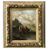 Oil on Canvas Painting, Cows in Pasture