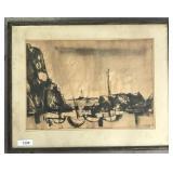 "William McCartin, Watercolor ""Abstract Harbor"""