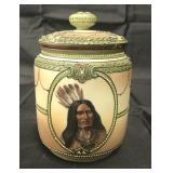 Rare Native American Nippon Moriage Tobacco Jar