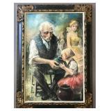 "Americo Makk, ""Grandfather"" Oil on Canvas Painting"