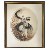 """Louis Icart, """"Autumn Leaves"""" Signed Etching 1926"""