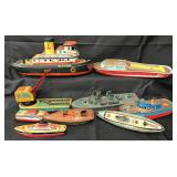 9Pc Tin Boat & Related Toys