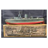Boxed Tin Litho Windup Torpedo Boat, SAN Japan