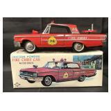 Boxed Tin Friction Fire Chief Car w/Siren, Daiya