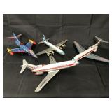 (4) Small Tin Litho Toy Airplanes
