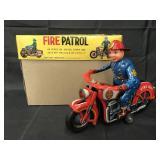Tin Litho Battery Op Fire Patrol Motorcycle, Japan