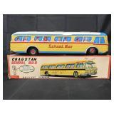 Boxed Tin Litho Battery Op Cragstan School Bus