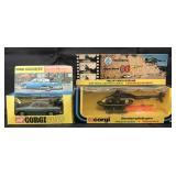 Boxed Corgi Toys, Rover 2000 TC & OO7 Helicopter