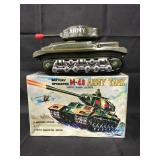 Boxed Battery Op M-48 Army Tank, Tin Litho, Japan