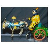Tin Litho Windup Clown on Cart with Donkey/Mule