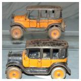 2 Arcade Cast Iron Taxis