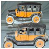 2 Hubley Cast Iron Taxis