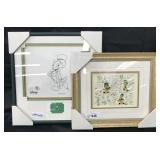 (2) Disney Jiminy Cricket Framed Art with Pins