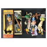 (4) Disney Jiminy Cricket Marionettes + Puppet