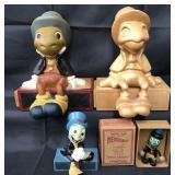 (4) Disney Jiminy Cricket Wooden Figurines