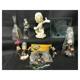 (8) Disney Jiminy Cricket Glass Collectibles