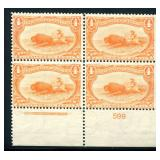 United States #287 Plate Block of Four.