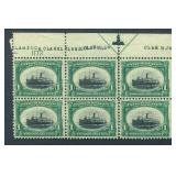 United States #294 Plate Block of Six.