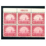 United States #567 Plate Block of Six.