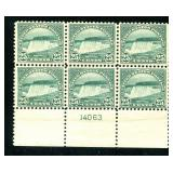 United States #568 Plate Block of Six.