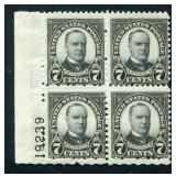 United States #588 Plate Block of Four.