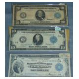 Large Currency Lot of Three.