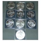 Lot of Ten Silver Coins.