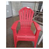 (2) Outdoor Lounge Chairs - RED - Plastic