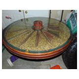 Wagon Wheel Glass Table - 4 feet diameter