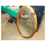 Decorative Wooden Oval Mirror - 39 x 23