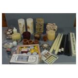 ASSORTMENT OF CANDLES, CANDLE HOLDERS,