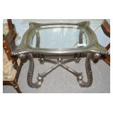 SIDE TABLE WITH GLASS TOP & SILVER GILTED BASE