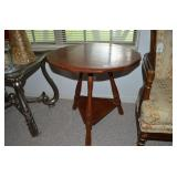 """ROUND WOOD TABLE WITH LOWER SHELF, 25"""" X 25"""""""
