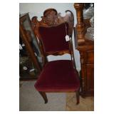 SIDE CHAIR WITH RED VELVET UPHOLSTERY, CARVED BACK