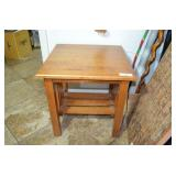 """WOODEN END TABLE WITH LOWER SHELF, 20"""" X 20"""""""
