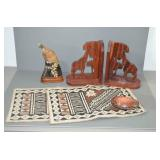 SELECTION OF ITEMS FROM AFRICA-WOODEN CARVED BIRD,