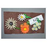 RETRO MID CENTURY BAKED ENAMEL FLOWER PINS