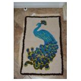 YARN PUNCHED RUG- PEACOCK